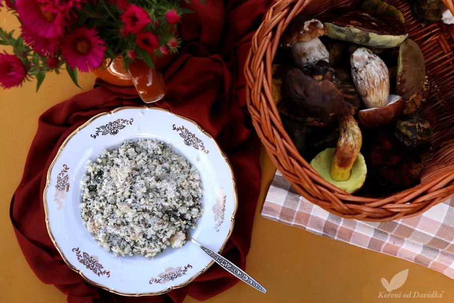 Hríbové rizoto so špenátom