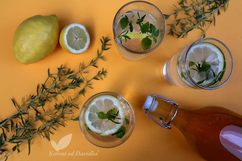 Mátovo tymiánovo citronový sirup