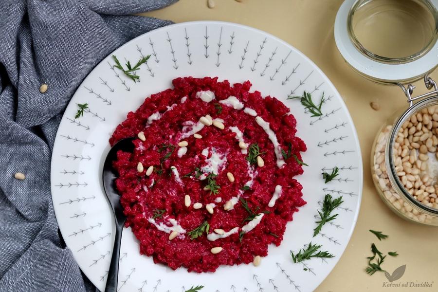 Cviklové rizoto s gorgonzolou
