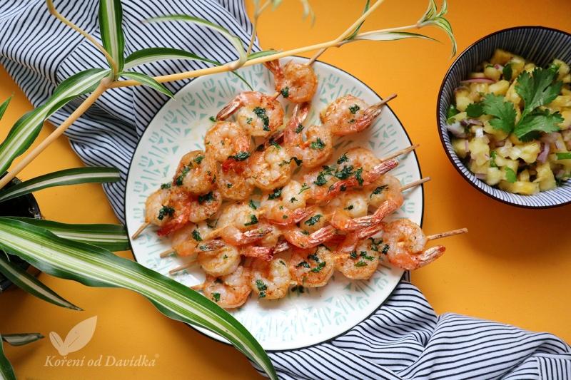 Krevety na grile s ananásovou salsou