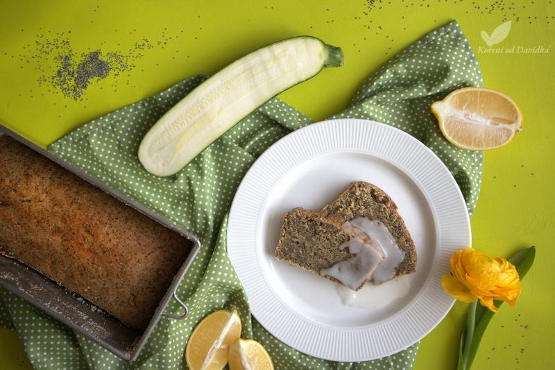 Cuketovo-makový chlebíček s citrónovou polevou